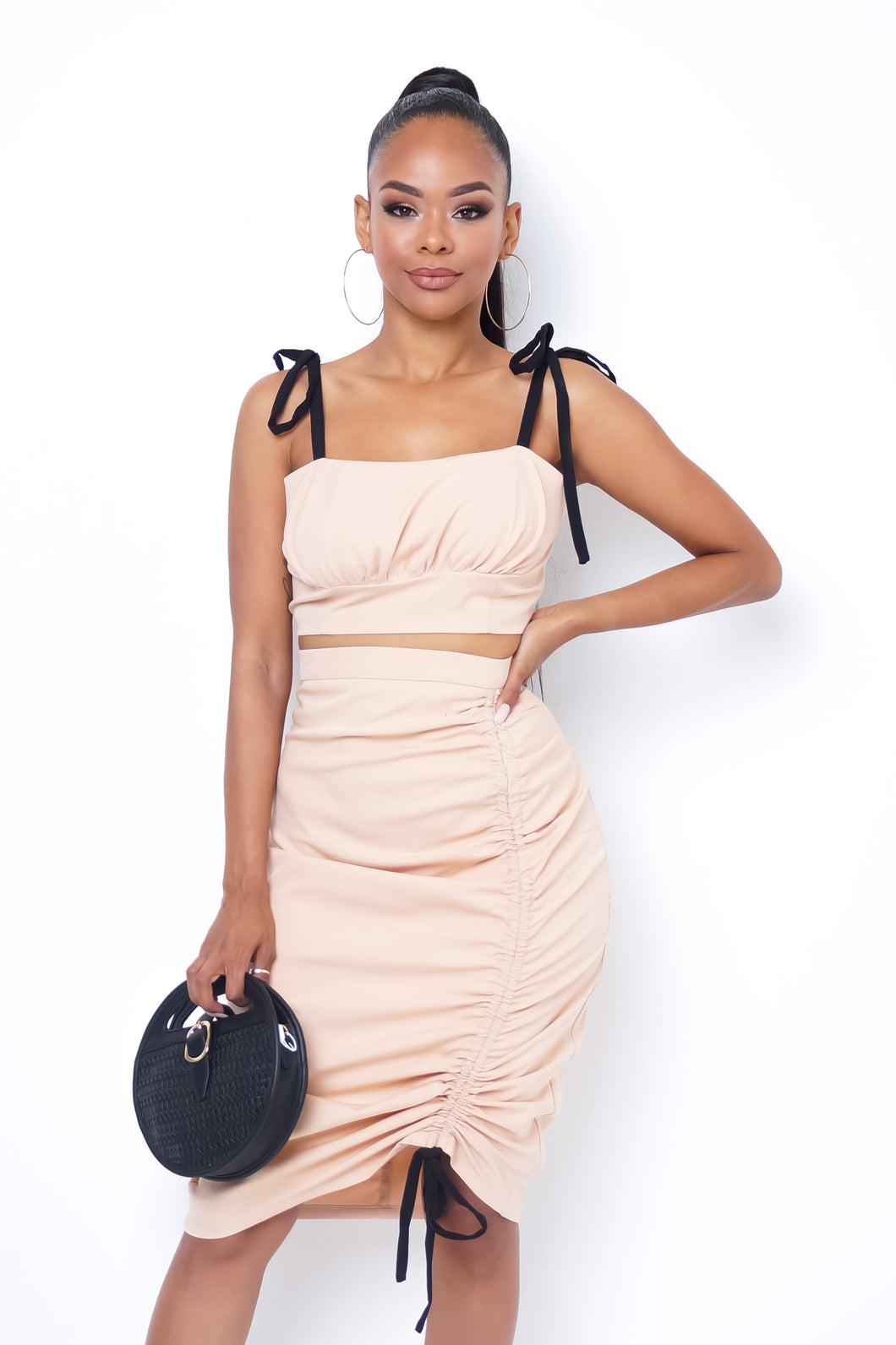 Allie Two Piece Skirt Set - Beige