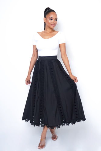 Lacey Maxi Skirt - Black