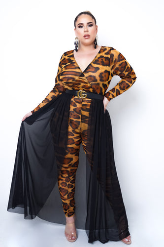 Plus Size Cory Two Piece Jumpsuit Set - Brown