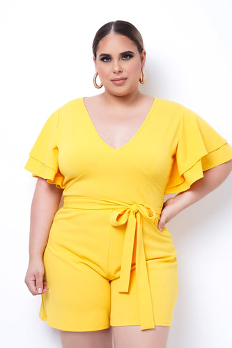 Plus Size Reina Romper - Yellow