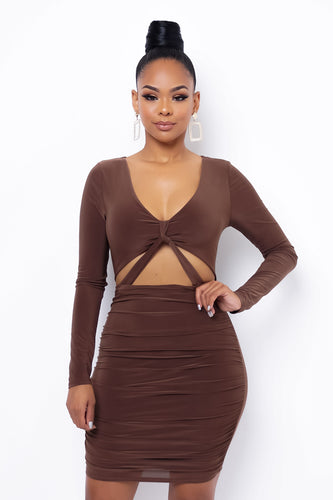 Devotion Mini Dress - Brown