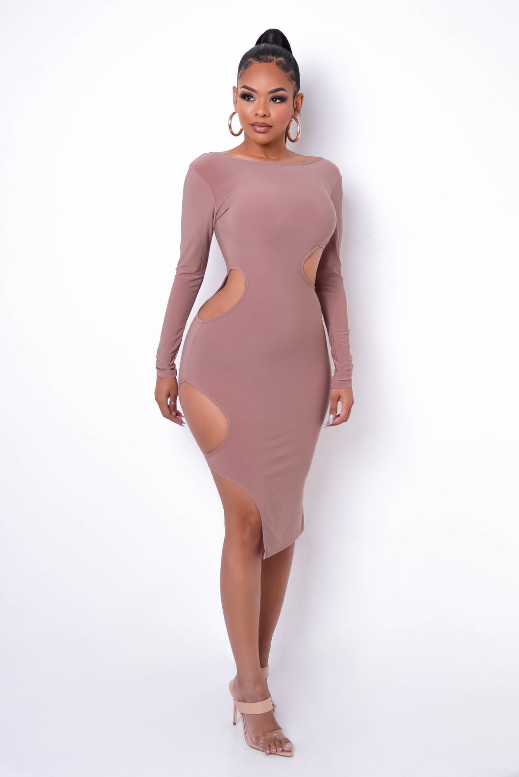 RESTOCK! Allegations Midi Dress - Taupe