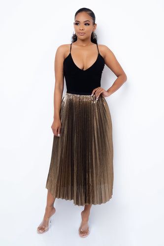 In My Head Midi Skirt - Gold