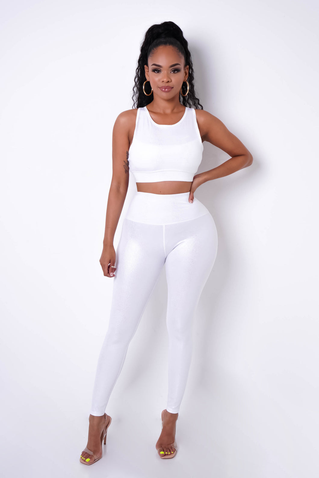 Fitness Day Two Piece Pant Set - White