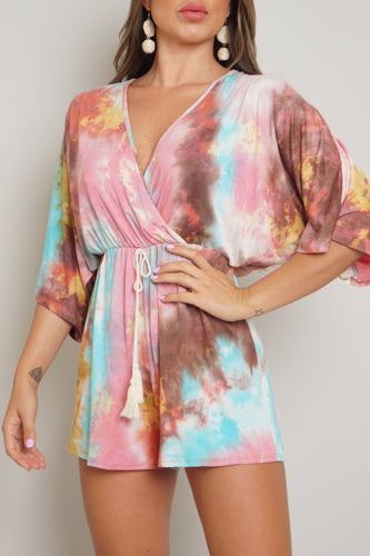 Watercolor Romper - Pink