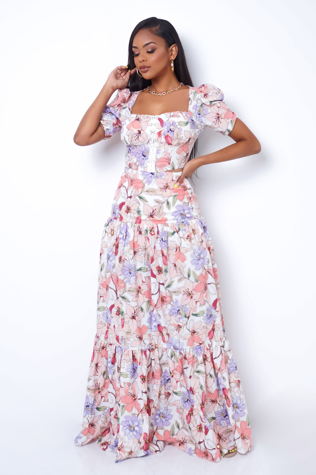 Floral Vibes Two Piece Skirt Set - Blush
