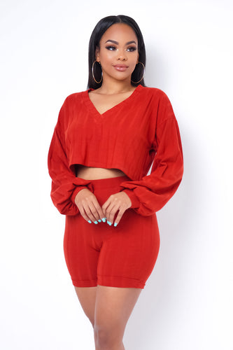 What A Feeling Two Piece Short Set - Red Orange