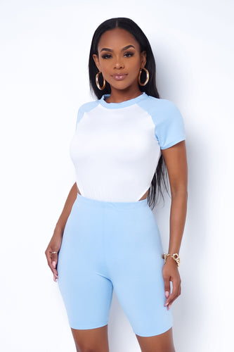 Kimi Two Piece Short Set - Baby Blue