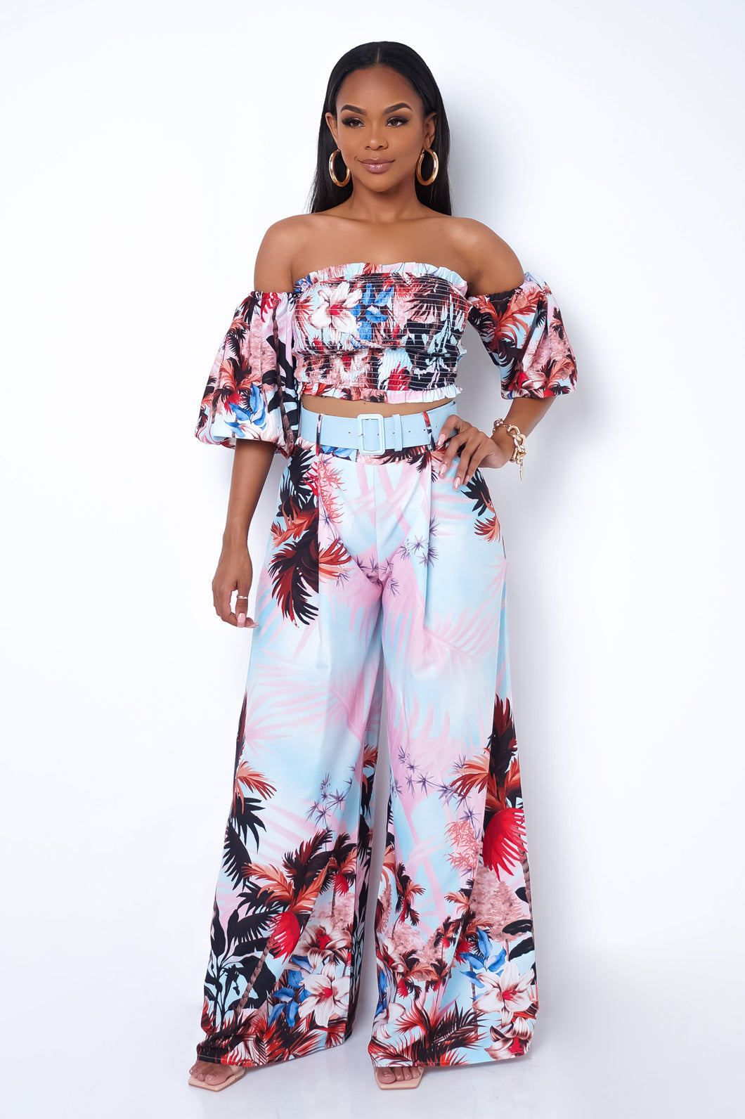 Florinda Two Piece Pant Set - Pink