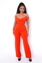 Business Casual Jumpsuit - Red Orange