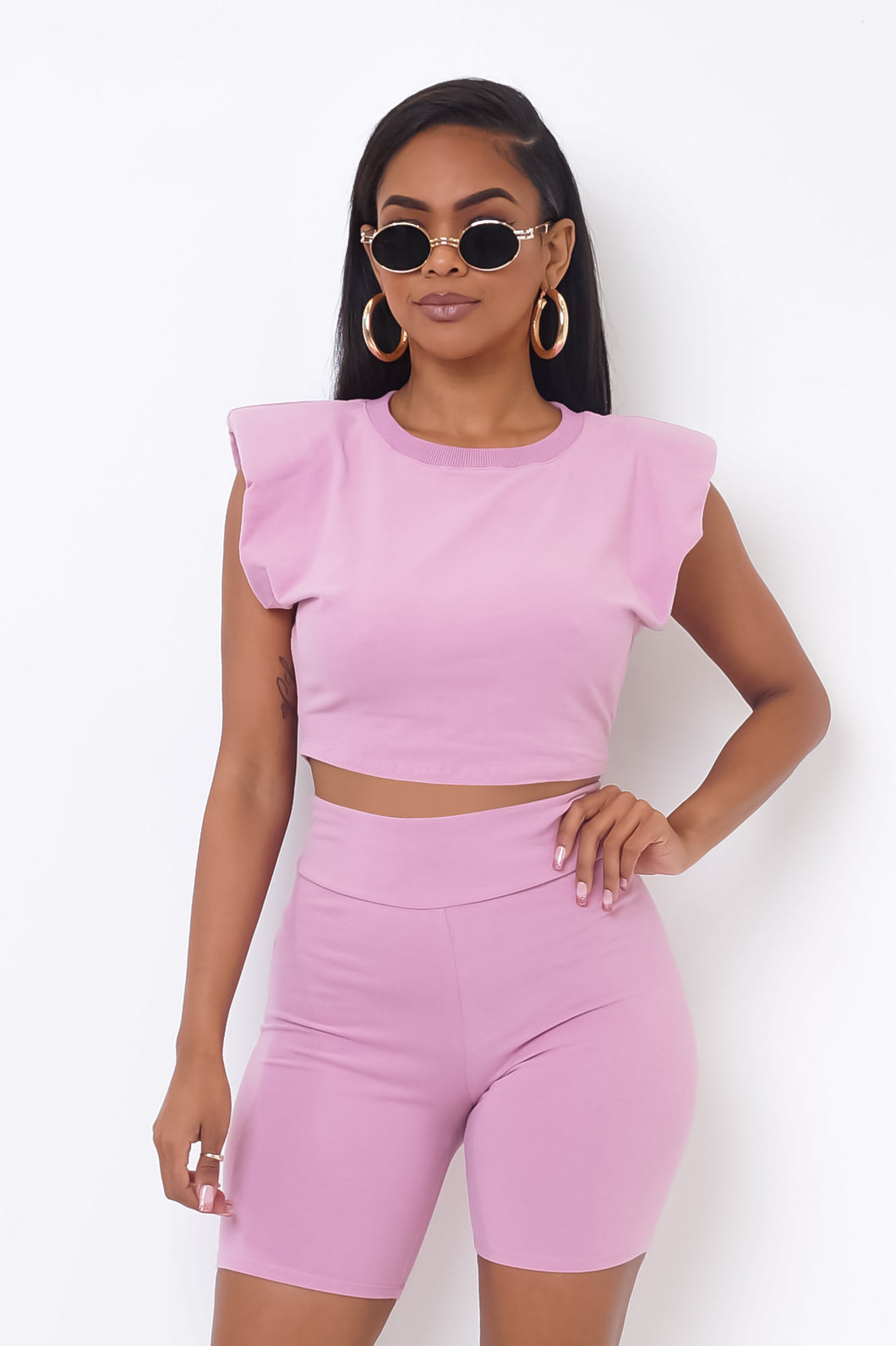 Rebeca Two Piece Short Set - Pink