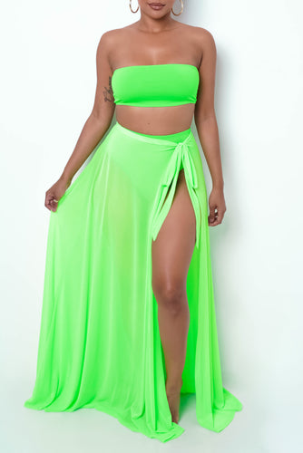 Pool Day Three Piece Swim Set - Neon Green