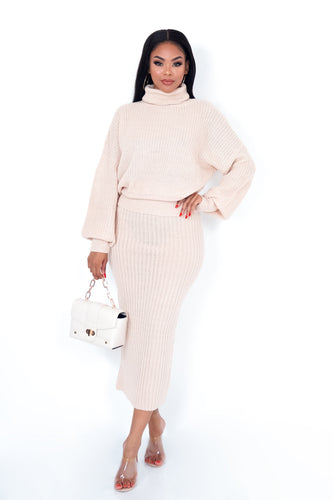 Fashion Stop Two Piece Skirt Set - Nude