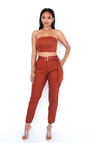 Jamie Two Piece Pant Set - Brown