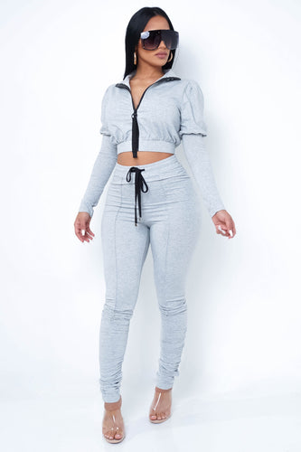 Shanice Two Piece Pant Set- Gray