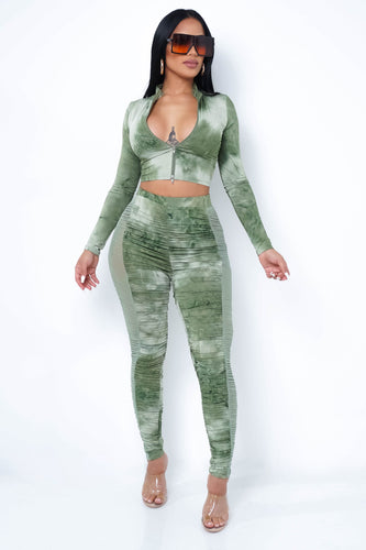Octavia Two Piece Pant Set - Olive
