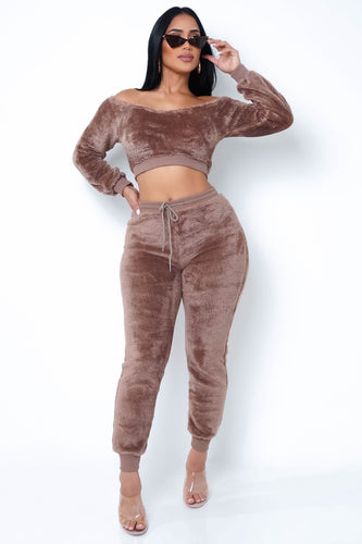 Teddy Two Piece Pant Set - Brown