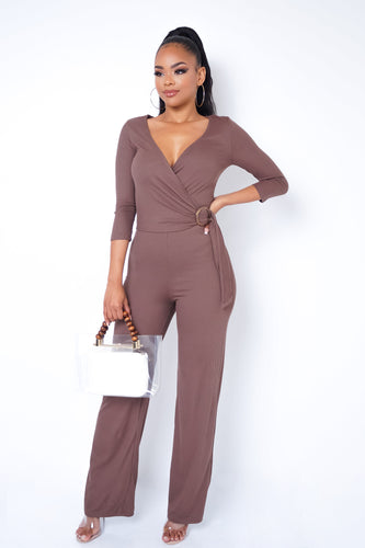 Guest List Jumpsuit - Brown