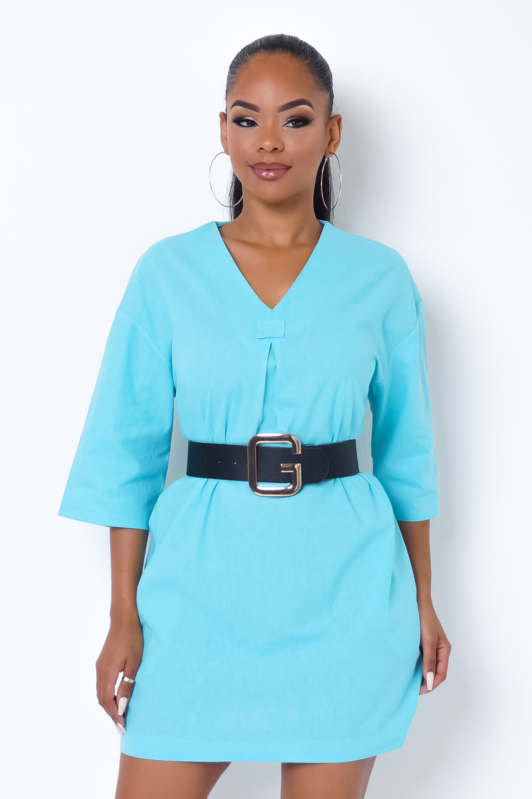 All About Basics Mini Dress - Turquoise