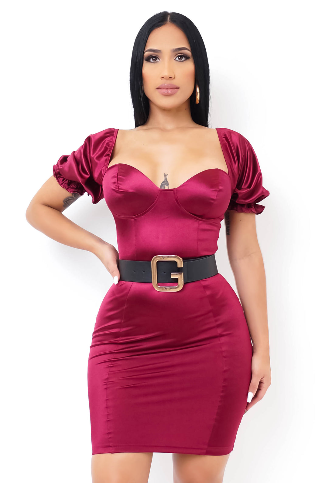 Yazmine Mini Dress - Burgundy