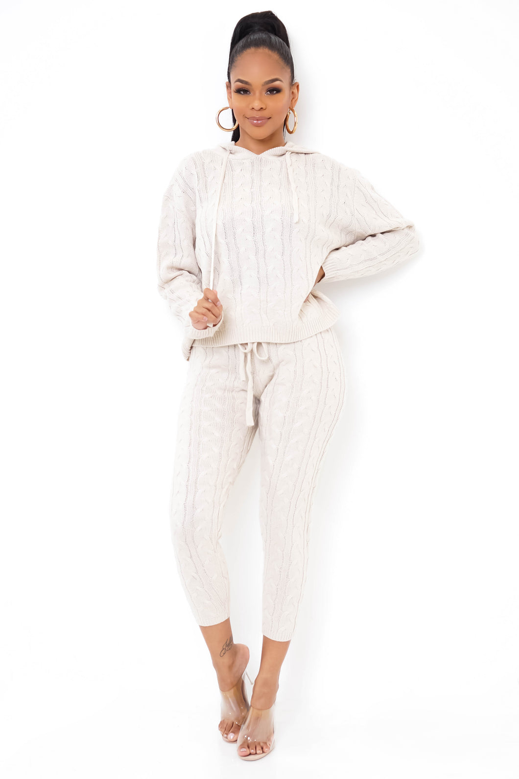 It's Chilly Two Piece Pant Set - Beige
