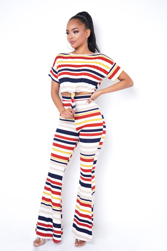 Sunset Two Piece Pant Set - Red Orange