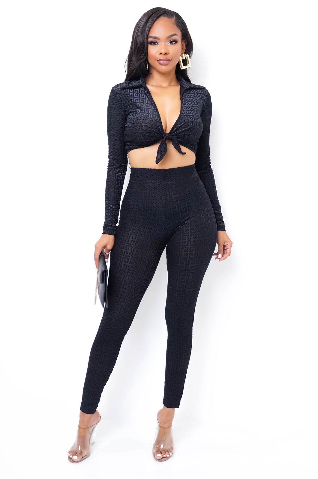 Demetria Two Piece Pant Set - Black