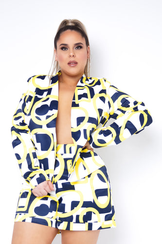 Plus Size Ronnie Two Piece Short Set - Yellow