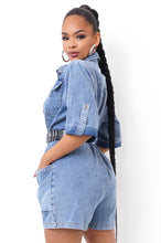 Chamara Romper - Medium Wash