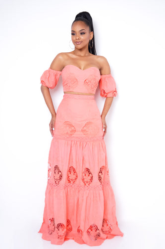Peach Two Piece Skirt Set - Coral