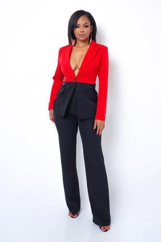 Fashion Haul Two Piece Pant Set - Red