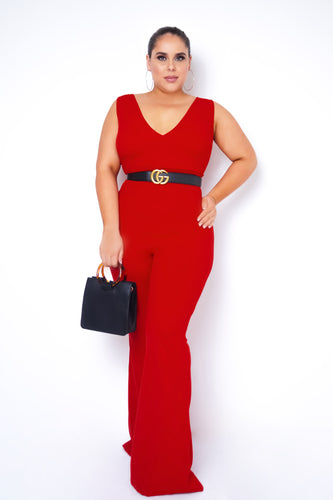 Plus Size Kenia Jumpsuit - Red