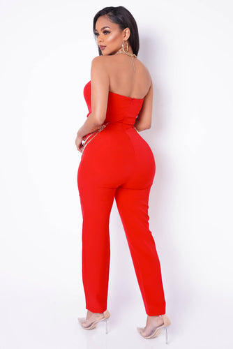 Right And Precise Jumpsuit - Red
