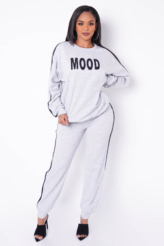 Are You In The Mood? Two Piece Pant Set - Gray
