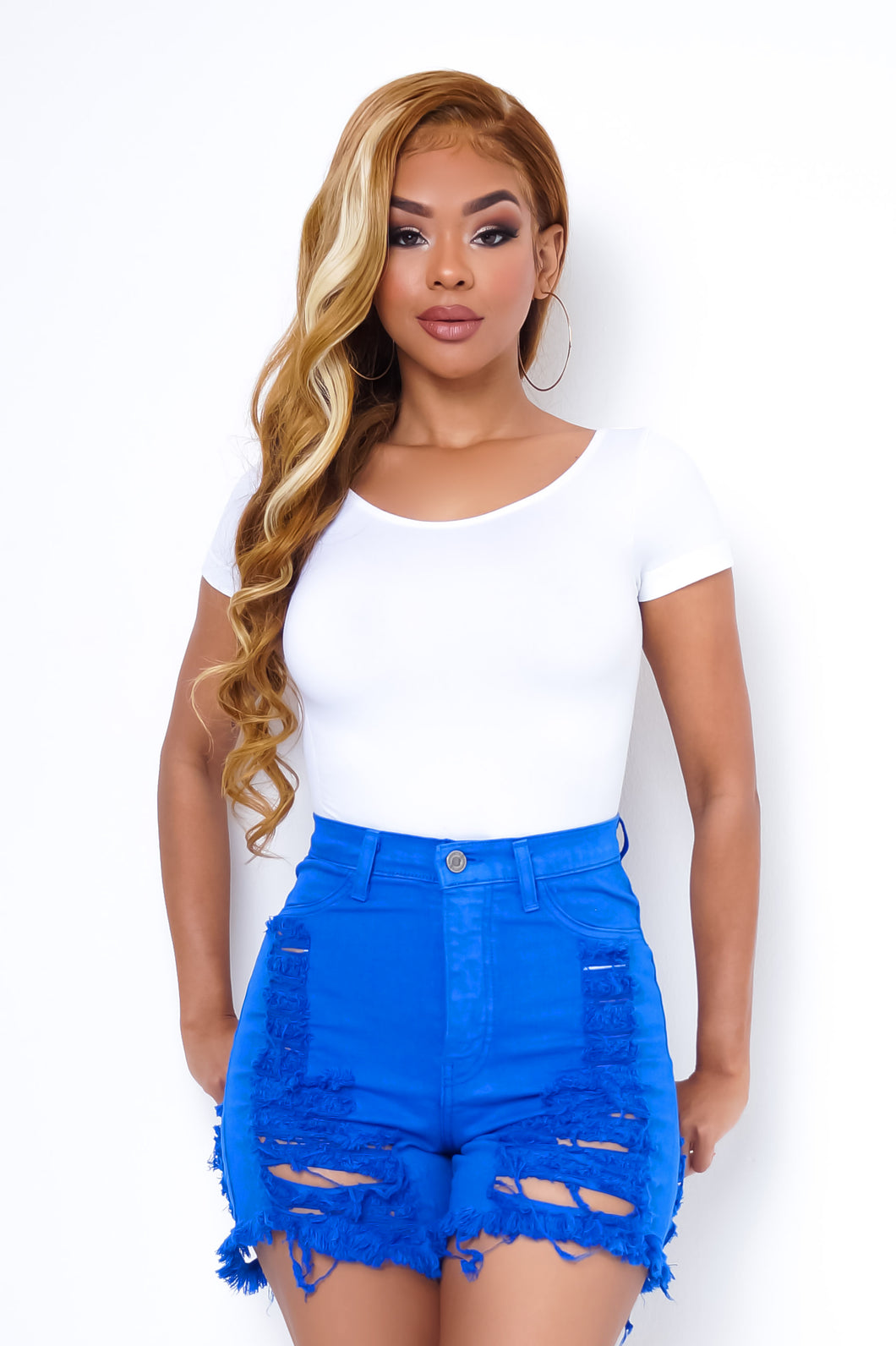 Roxy High Waist Shorts - BLUE