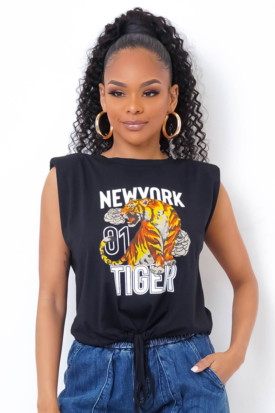 New York Tiger Top- Black