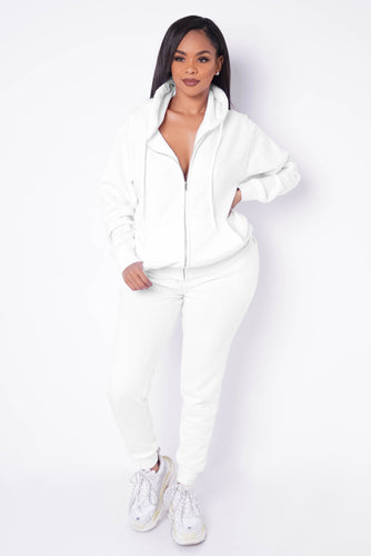 Chill Pill Two Piece Pant Set - White