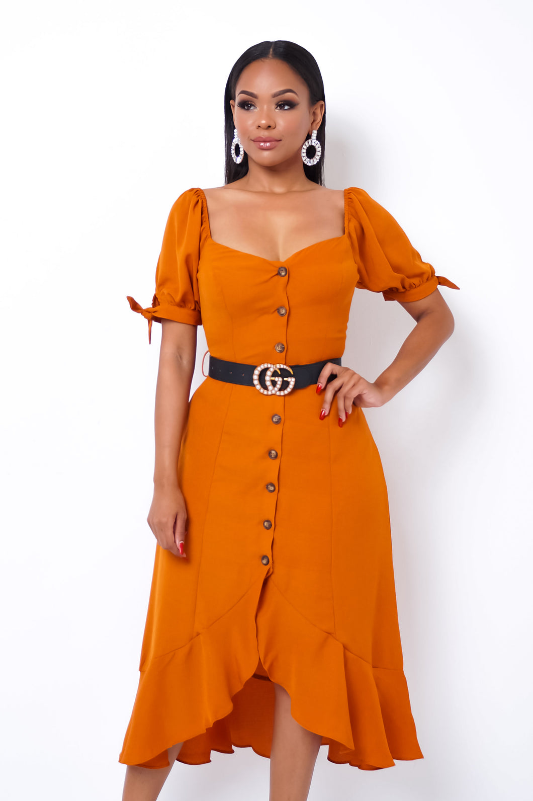 Beatrice Midi Dress - Orange