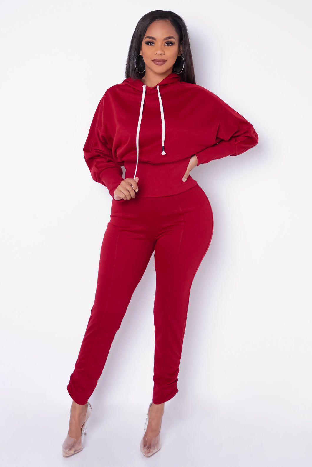 Give It A Rest Two Piece Pant Set - Burgundy