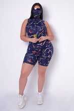 Plus Size Butterflies In Stomach Romper Set - Navy