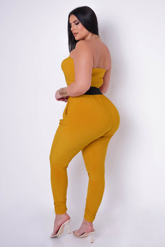 Plus Size Peggy Jumpsuit - Mustard