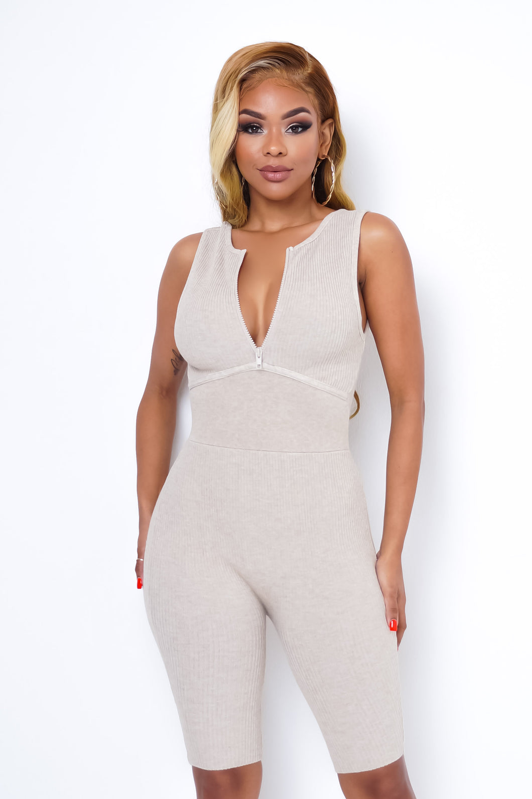 Stay At Home Romper - Beige
