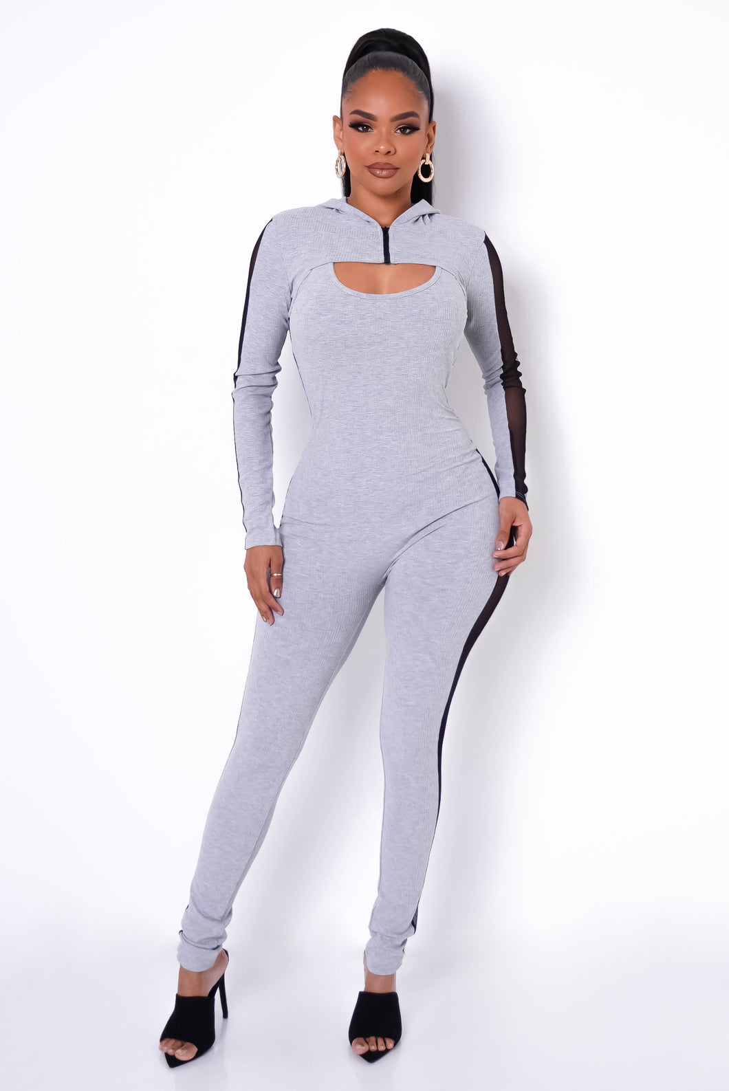 Morning Jog Jumpsuit Set - Gray