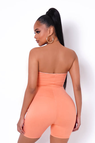 All The Right Places Romper - Salmon