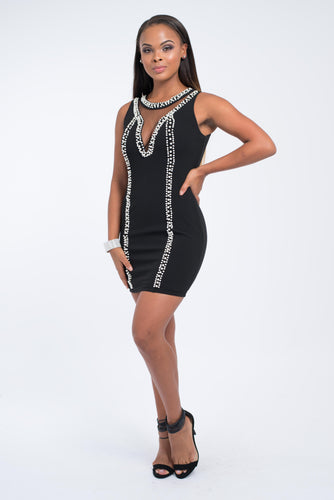 Endless Pearls Jewel Neck Dress