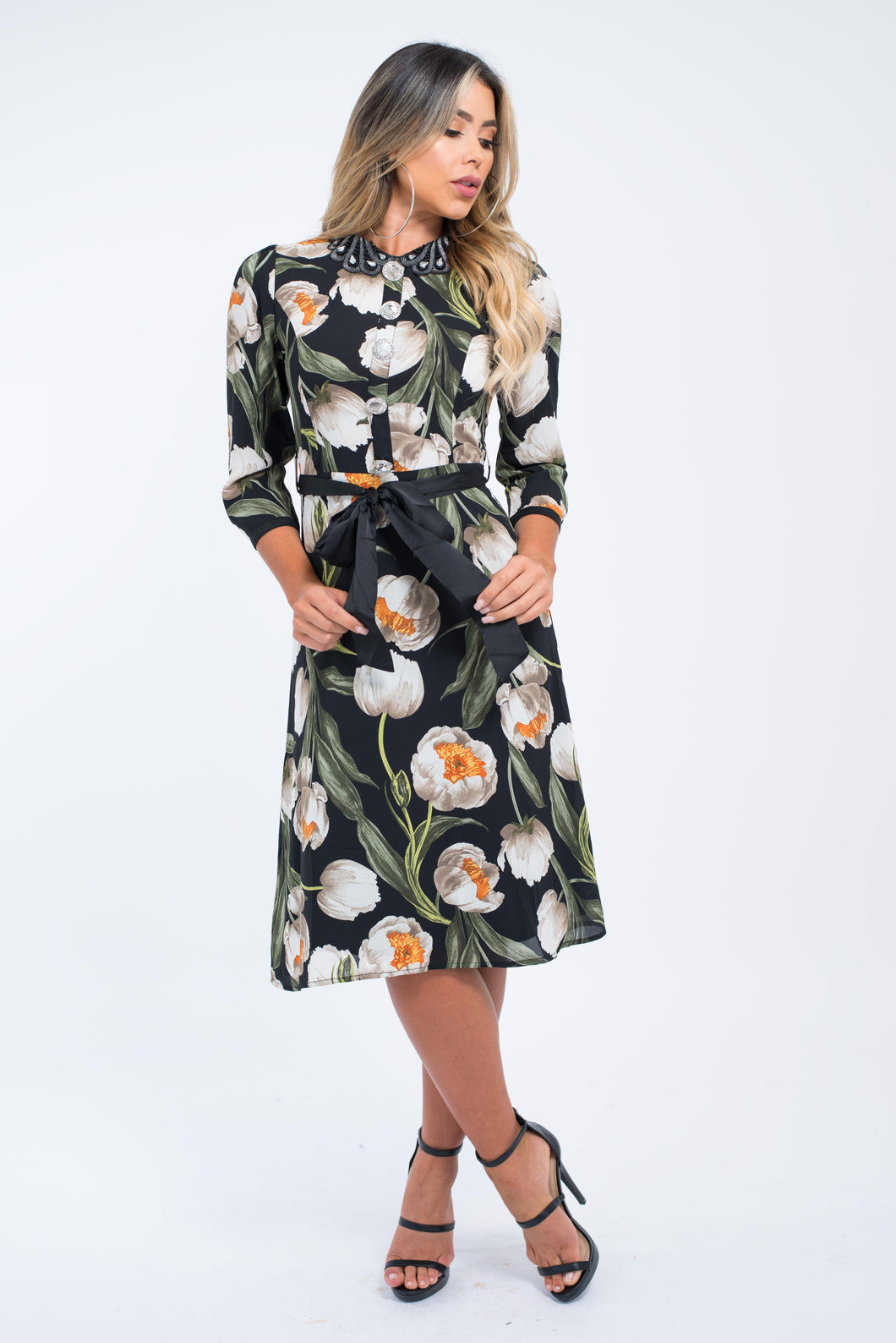 Peony Print Midi Dress With Jewel Collar & Buttons