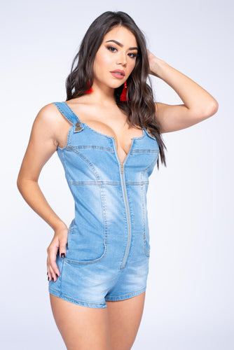 Zip Up Denim Romper