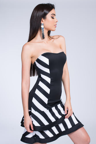 Mod Style Peplum Striped Dress