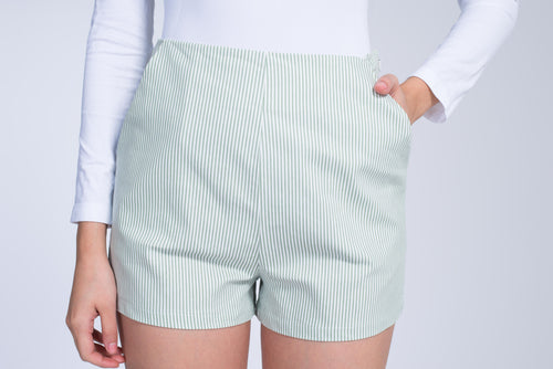 Vintage Striped Mid Rise Shorts