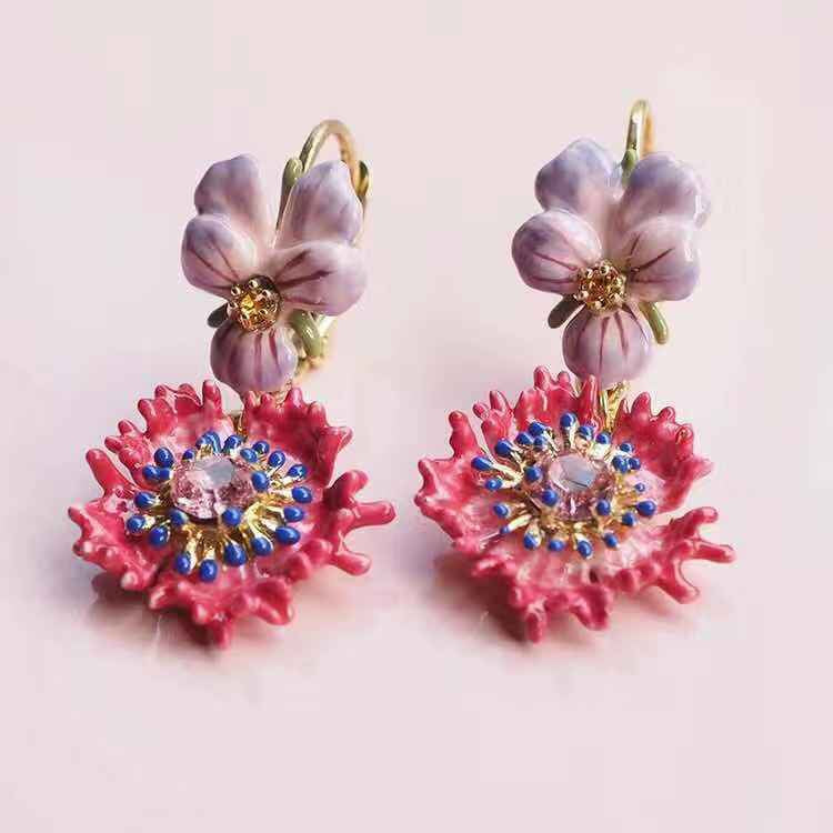 Pansy and pink crystal drop earrings